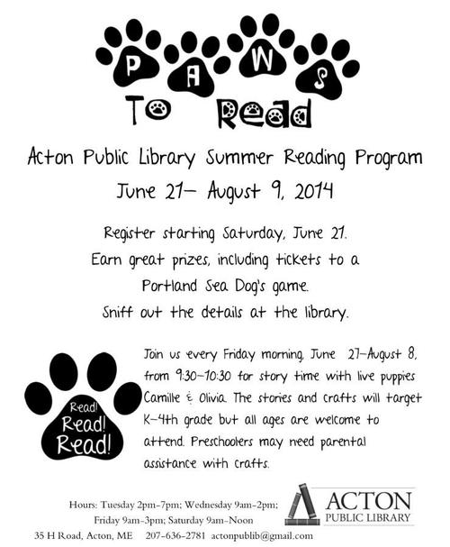 Paws to Read Summer Reading Program Flyer